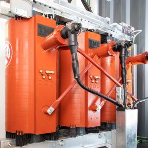 1250kVA cast resin transformer installed inside modular substation.