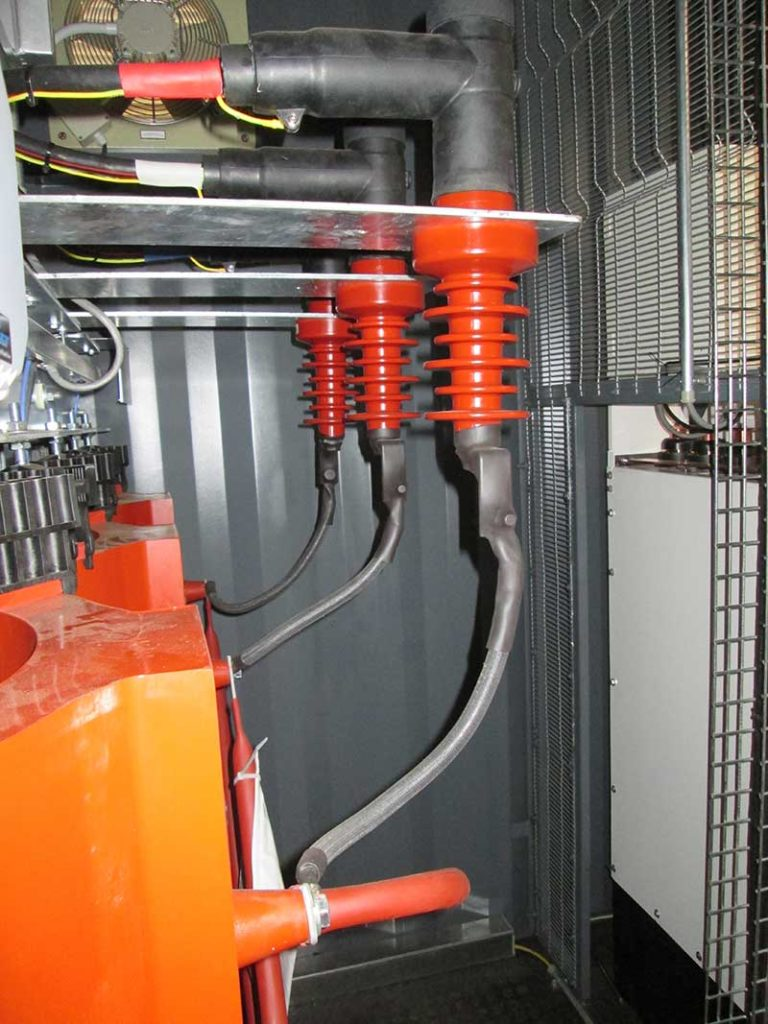 500kVA cast resin transformer, with sealed terminations, installed in modular substation.