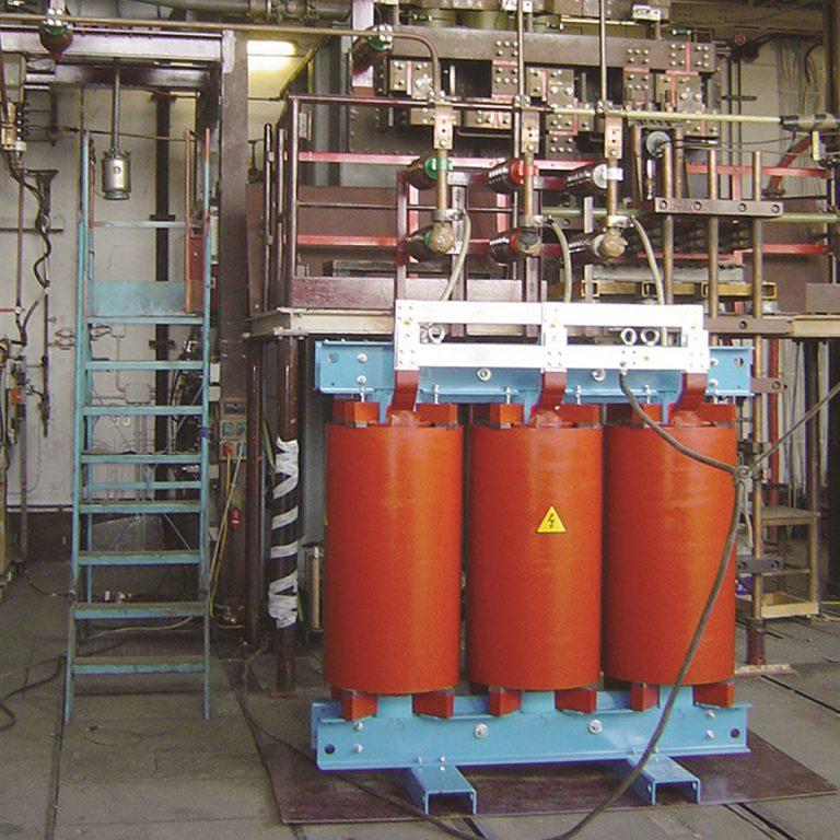 A cast resin transformer in a test bay.
